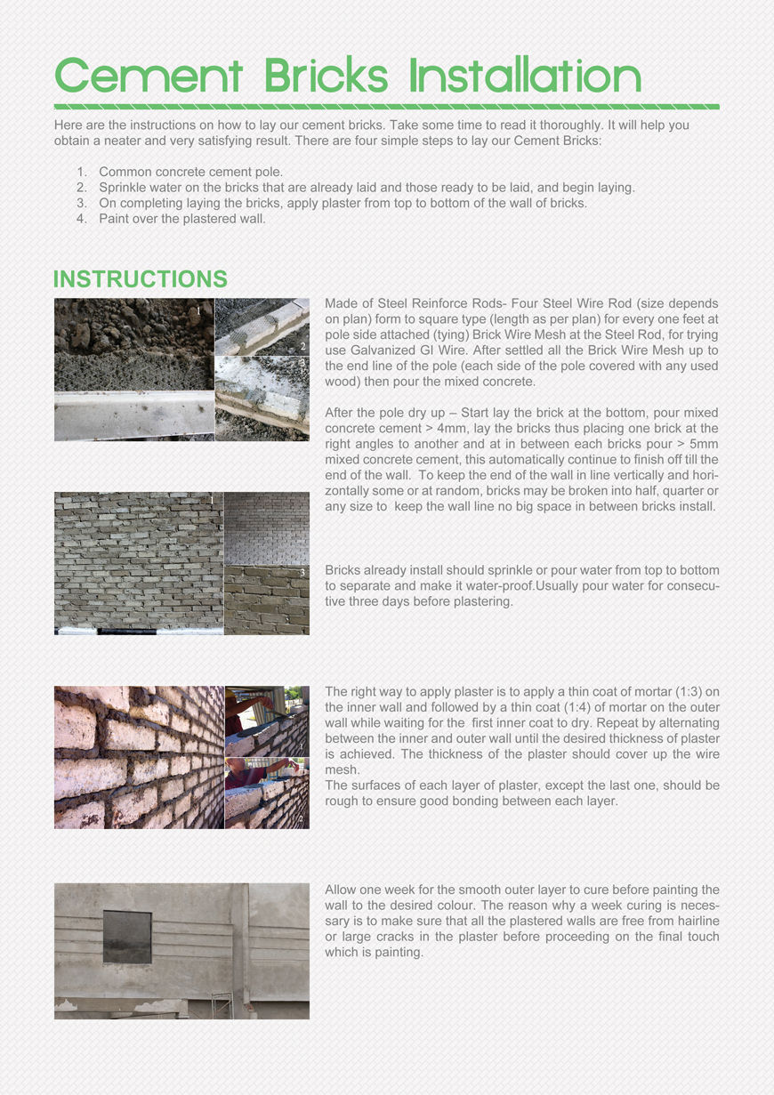 cement brick installation